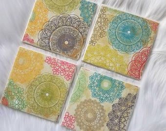 Drinking coasters.  Coasters.  Rustic home decor. Spring.  Spring decor.