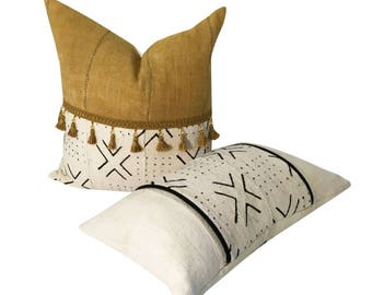 African Mud Cloth Pillow, Gold Mud cloth Pillow, Square or Lumbar Pillow, Tassels on Pillow, Hand made Fabric