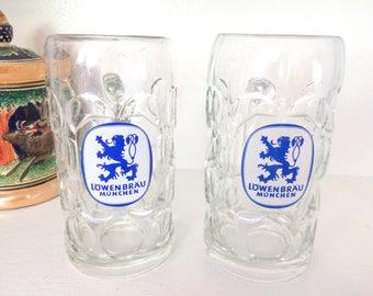 Lowenbrau Munchen 1 Liter Beer Glasses Steins Mugs