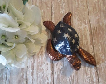 Cast Iron Paperweight Turtle ~ Handmade Metal Home Decor ~ Unique Birthday Gift for Boss Husband Wife  ~ Nature Lover Statue ~ Art