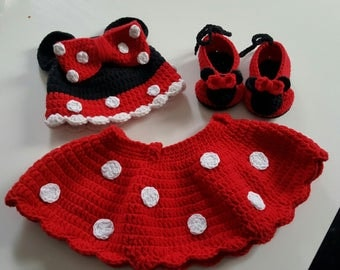 set Hat booties and skirt minnie