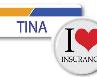 TINA From Progressive Insurance Halloween Costume Name Badge Tag magnetic Fastener & Button Ships ASAP FREE