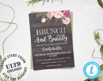 Brunch & Bubbly Rustic Floral Bridal Shower Invitation Template, Printable Brunch and Bubbly Invitation, Instant Download