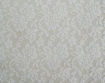 """Floral Designer Net Lycra Fabric, Dress Material, White Fabric, Sewing Supplies, 65"""" Inch Fabric By The Yard ZBD220A"""