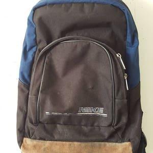 Vtg 90s Nike Backpack Blue Bookbag Suede Leather 17x13