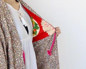 kimono, silk kimono, Japanese kimono, haori, kimono jacket, short kimono, robe, silk robe, cardigan kimono, Japanese clothing /2563