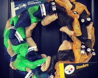 Custom Made NFL House divided wreath: Seattle Seahawks / Pittsburgh Steelers