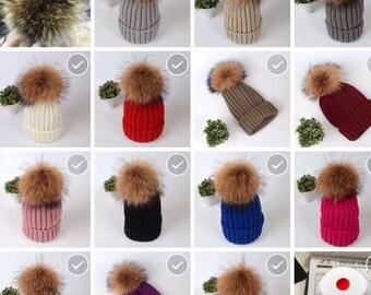 Puffs ball Hat Pom Poms Real Fur Cotton Hat Brown Fuzzy BLACK tips Pom pom Knit Beanie for Women custom kid's hat