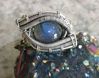 Wire Wrapped Eye Labradorite Ring, Size 8 1/2