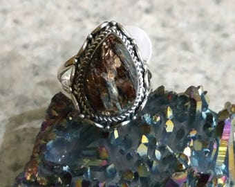 Peruvian Golden Pyrite Ring, Size 8 1/2