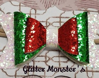 Christmas Glitter Bow, Christmas Glitter Bows, Red, White, and Green Glitter Headbands, Glitter Hair Bows, Baby Bow, Baby Glitter Headband