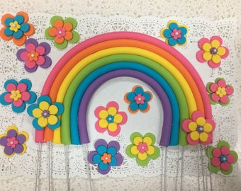 Rainbow and flowers cake topper