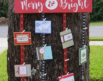 Merry Mail Christmas Card Holder,  Merry and Bright, Christmas card holder, Merry Mail, Christmas Sign, Christmas Gift, Card Holder, Holiday