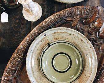 Green Stoneware Plate Set / Japanese Stoneware Plates / Vintage Green Plates / Set of 6