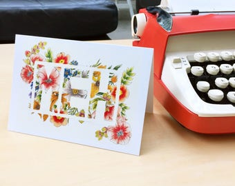 MEH floral greeting card - sarcastic blank card