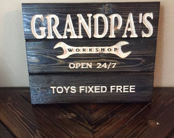 Carved Grandpa's Workshop Sign - Gandfather Gift - Father's Day - FREE SHIPPING in the USA