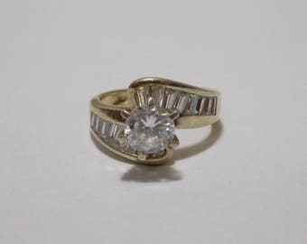 Gold tone sterling silver CZ ring size 6