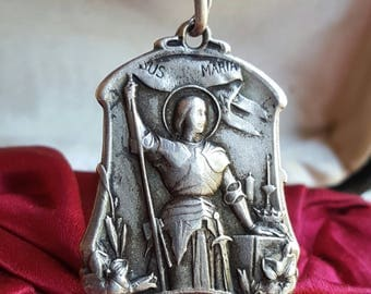 Antique French Saint Joan of Arc Medal Art Nouveau Engraved LJ JL initials lj jl Religious Catholic Jewelry St. Joan The Warrior