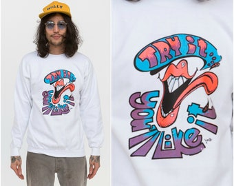 Psychedelic ACID Trippers Sweater / Try It You'll Like It / Size S-M