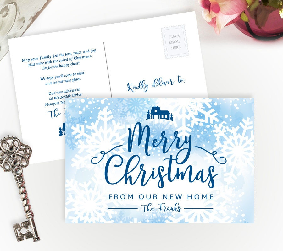 printed new address christmas cards personalized change of address postcards holiday moving announcements
