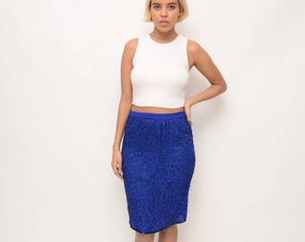 Vintage 80s/90s Beaded Silk Royal Blue Skirt with Back Slit - Contemporary Flapper Style - 90s Cool - Minimalist Glamour - Small