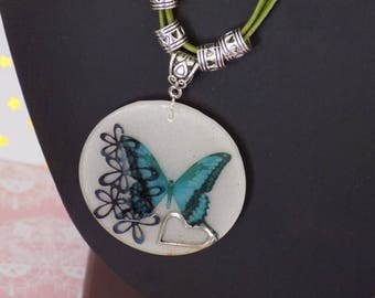 nature collection #2 Necklace: blue butterfly