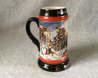 Vintage Budweiser Christmas 1992 Collectors Beer Stein, A Perfect Christmas, Collectible Budweiser Clydesdale Horses Stein