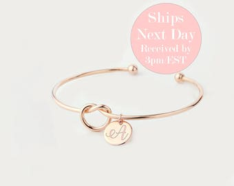 """SALE! 10% buy 5+ Tie The Knot Love Knot Initial Bangle BRACELET Rose Gold Tie the Knot Bracelet Coordinate Bridesmaid Coupon Code """"BANGLE5"""""""