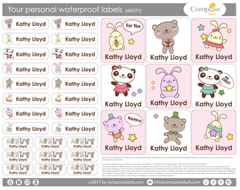 Cartoons - Your personal waterproof labels (68 Qty) Free Shipping