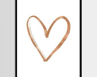 Heart print, Minimalistic art, Modern print, Fashion, Copper print, Digital art, Printable art, Digital Instant Download 16x20, 11x14, 8x10