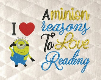 minion i love with A Minion reasons Reading Pillow machine embroidery 3 designs 3 sizes
