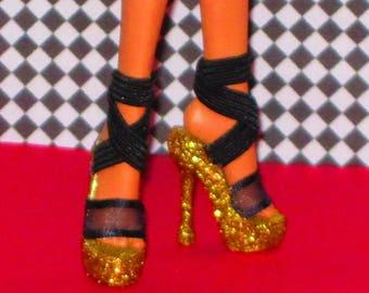 Monster High shoes FIERCE GOLD Platform shoes for Monster High 10.5 in, Ever After High, MH shoes, high heel shoes custom doll shoes