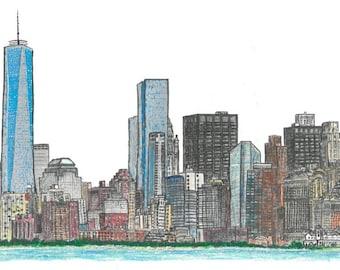 New York City Skyline Print - hand drawn, Times Square, Manhattan