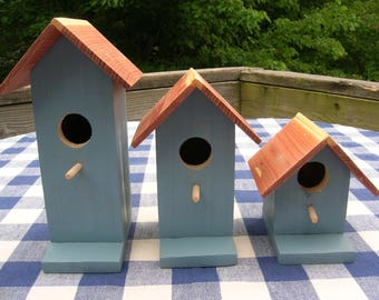 Cedar Birdhouses - Rustic Blue, Decorative, Set of 3 - Porch, Patio, Deck, Garden - Indoor, Outdoor Birdhouses
