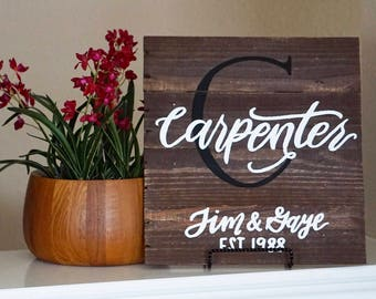 Last name sign/ reclaimed wood pallet painting