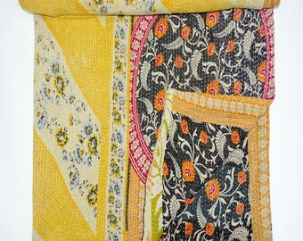 Handmade Indian Vintage Kantha Quilt Reversible Bedsheet Throw Ethnic Cotton Hand Stitched Old Gudari Floral Reversible Bedspread VG144