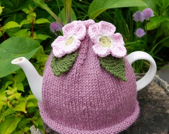 Pink Blossom Tea Cosy, Hand Knitted Teapot Cozy