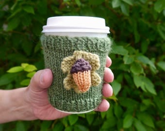 Acorn Coffee Cup Sleeve, Stocking filler, Autumn Gifts
