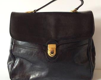 Oroton Australia Black Leather Satchel Briefcase