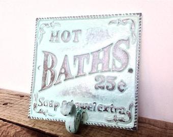 ON SALE Aqua Blue Bath Sign - Bathroom Sign - Bathroom Wall Art -  French Country - Shabby Chic Decor - Cottage Decor - Bathroom Wall Decor