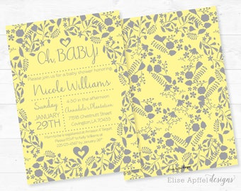 Gray and Yellow Baby Shower Invitation, Gender Neutral Gray and Yellow baby shower invite