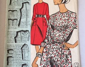 "Fabulous 60's french vintage sewing pattern :  Woman dress princess line size 16 taille 44 ""Patrons modeles 79018"""