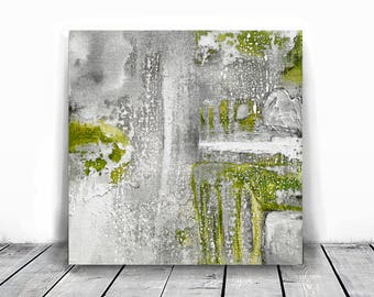 Original Fine Art Abstract, Contemporary Art, Modern Art, green and gray, small abstract, white, industrial art, 10x10, original painting