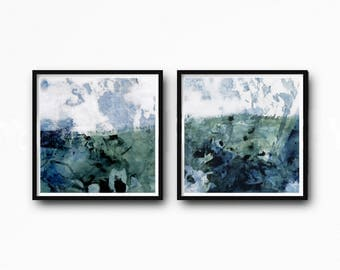 Abstract Art Print Set, Printable Art, landscape, Coastal Colors, Scandinavian Art, Set of 2 Prints, Downloadable,  white teal blue green