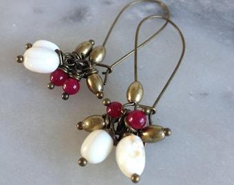 Lightweight, Ivory Pearl Earrings and raspberry jade, Leamorphoses
