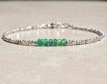 Zambian Emerald Bracelet, May Birthstone Birthstone, Natural Emerald Gemstone Bracelet, Sterling Silver Beaded Bracelet, Gift for Her