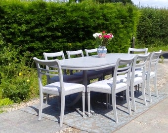NOW SOLD****Very Large, Vintage, Extending Dining Table and 8 Chairs. Shabby Chic, Paris Grey.