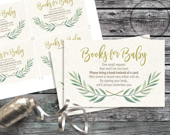 Book request insert eucalyptus laurels tribal arrow baby shower. Instant download! Watercolor rustic bohemian mint mustard 216CMPEX 215CMPGM