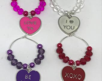 Set of 4 Valentine's Day themed wine glass charms