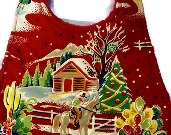 Cowboy Christmas Baby Bib, Quilted Christmas Baby Bibs, Southwest Living Christmas, Quiltsy Handmade, QQQ Team